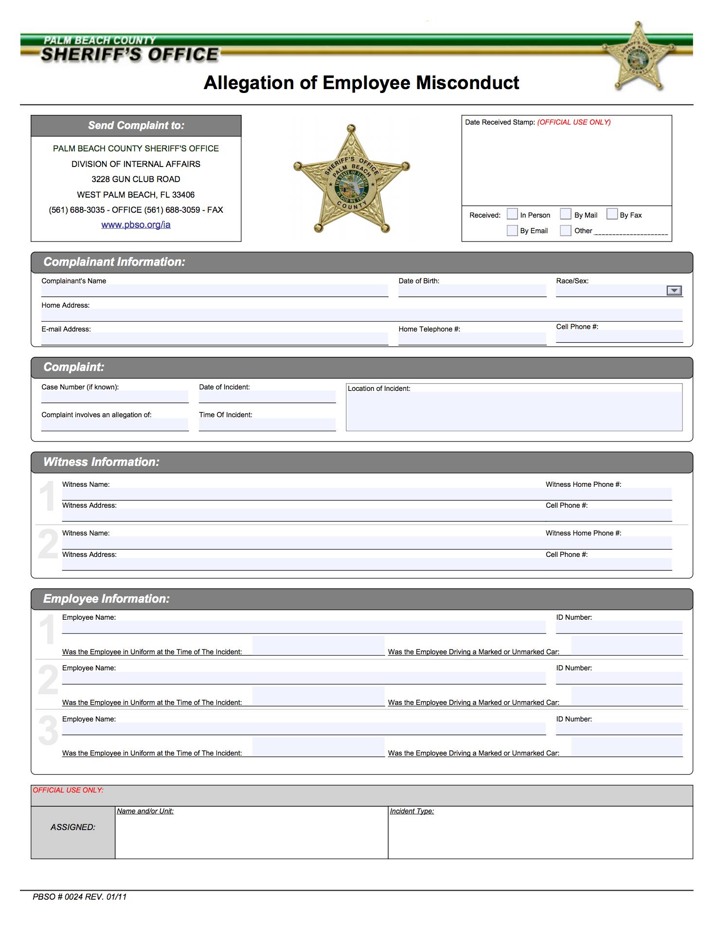 Internal Affairs - Palm Beach County Sheriff\'s Office