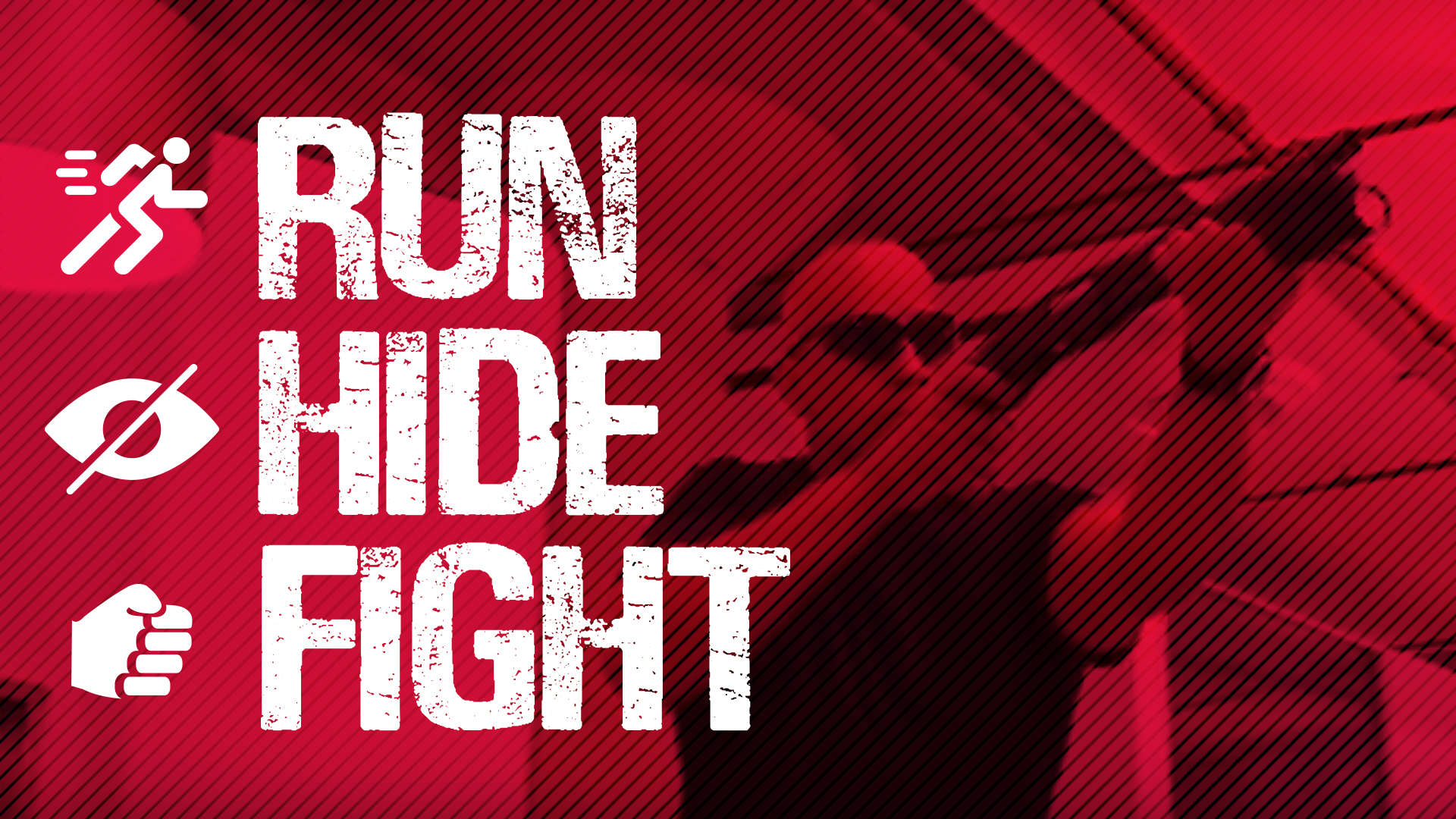 RUN, HIDE, FIGHT banner image
