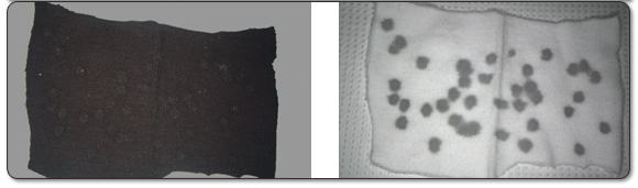 Figure 2: Blood on black cotton T-shirt using infrared light.
