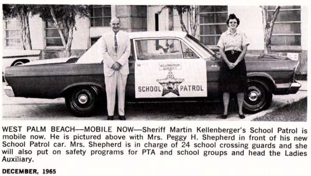 Sheriff Martin Kellenberger with First School Patrol Car Dec 1965