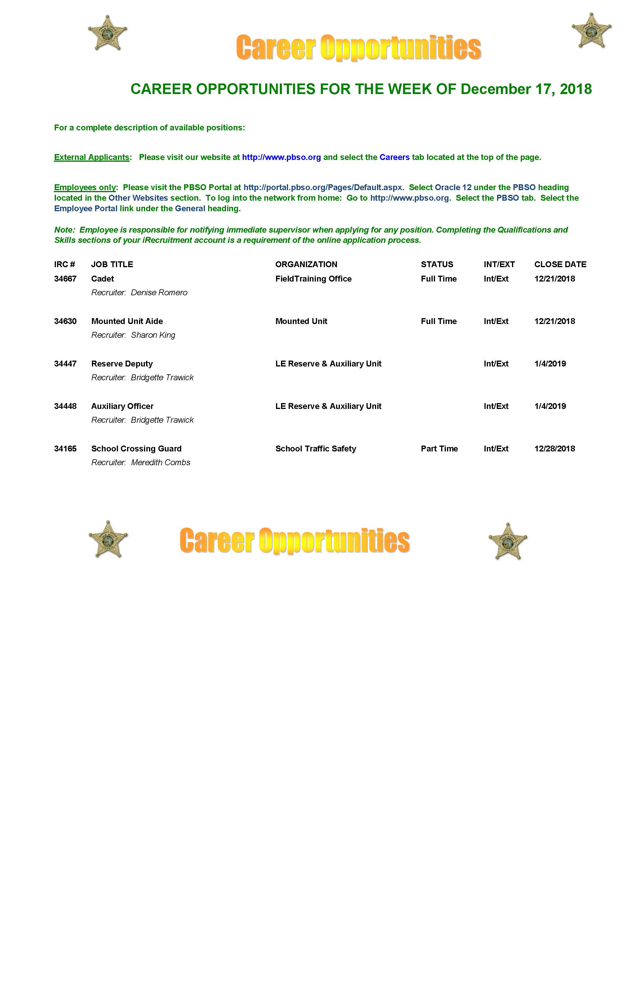 human resources palm beach county sheriff s office