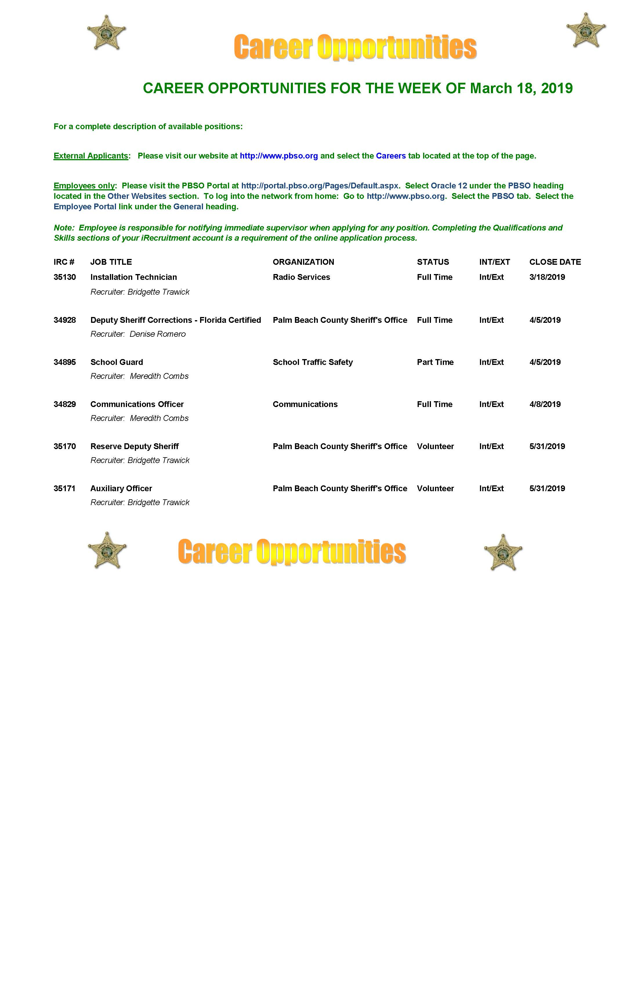 Career Opportunities for week of 3-18-2019