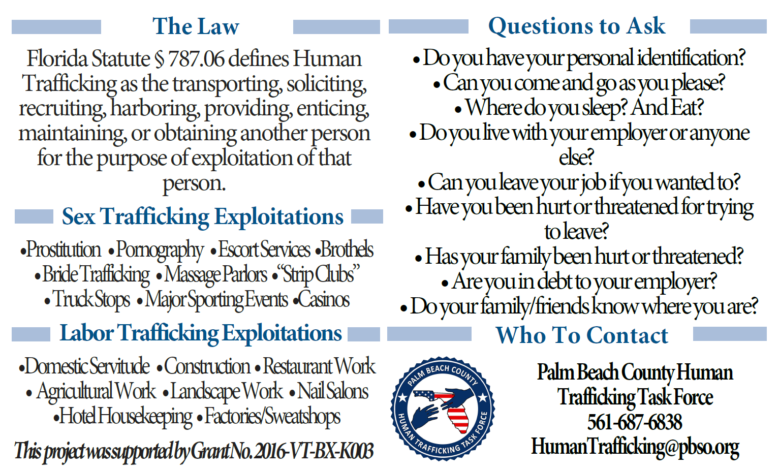 Click to open Human Trafficking Indicator Card PDF