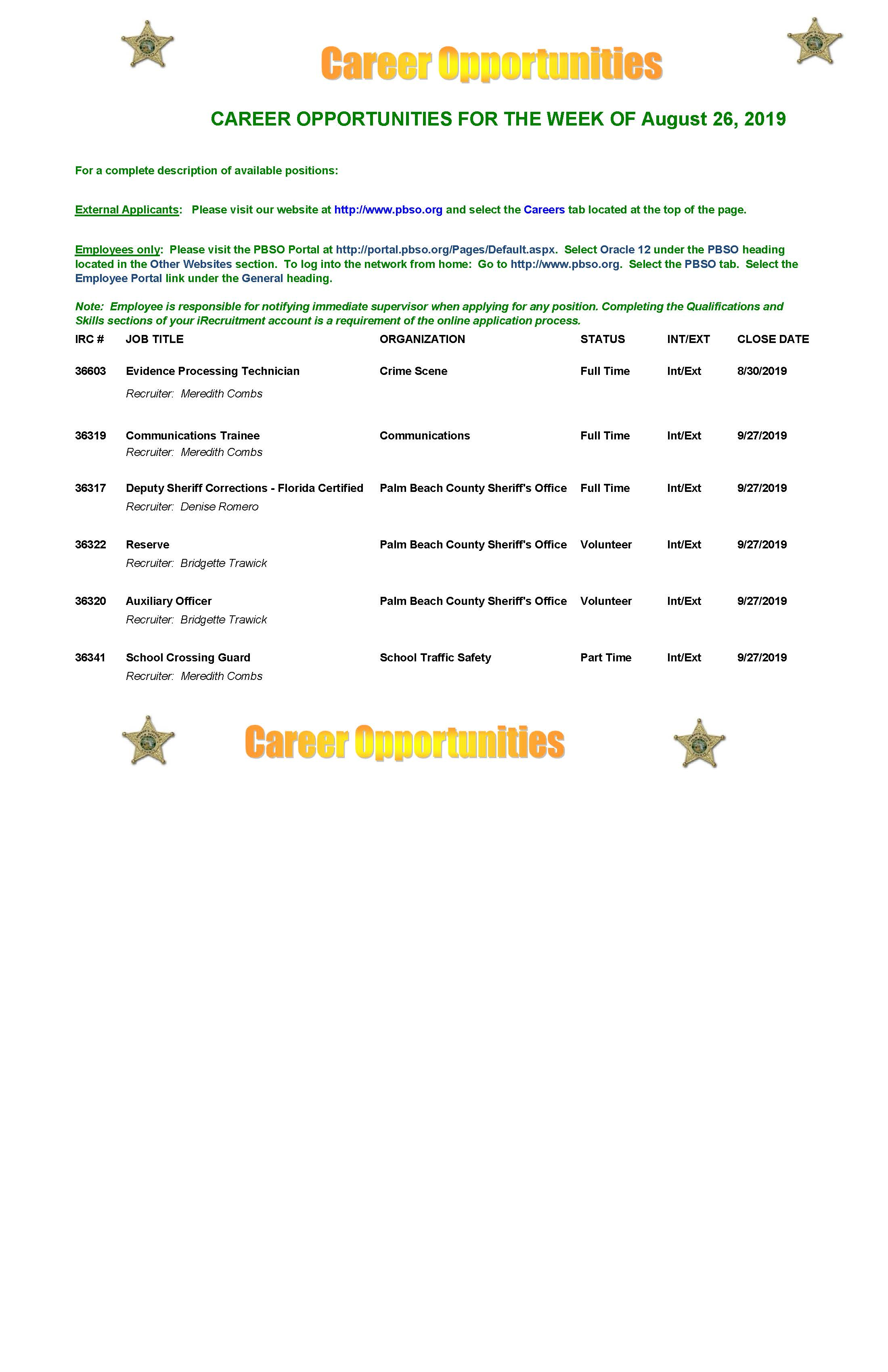 Human Resources - Palm Beach County Sheriff's Office