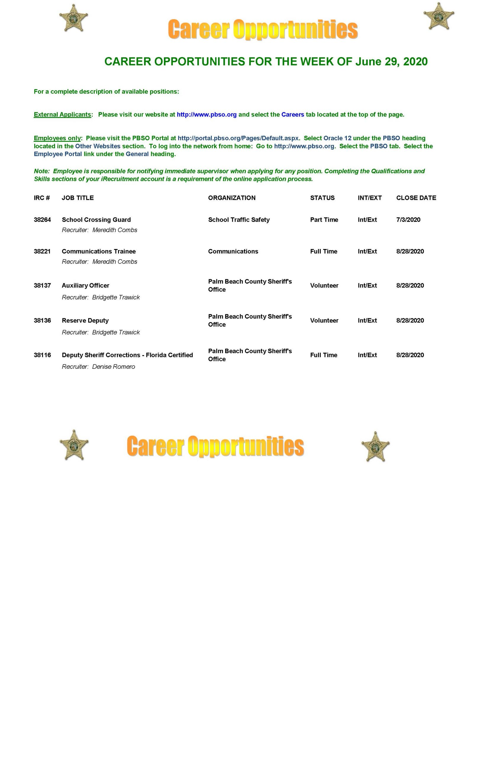 Career Opportunities for week of 6-29-2020